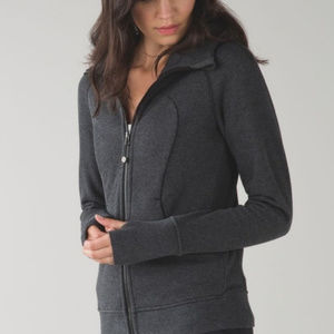 Lululemon dark gray scuba hoodie zip thumb holes